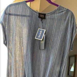 Blue tee shirt with rime-stones on it
